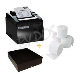 STAR TSP143 / TSP100 (ZWART) USB + KASSALADE ZWART + BONPAPIER (5) ROLLEN-39464031+EQT-410-CDB+ADT808012-40